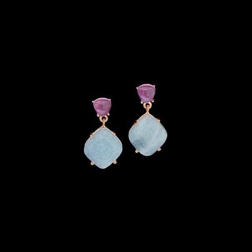 Pendientes Gemstones de plata rosa, amatista y cuarzo adamantino