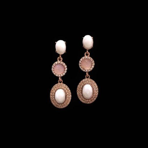 Pendientes Havana de plata rosa, ágatas y cuarzo rosa