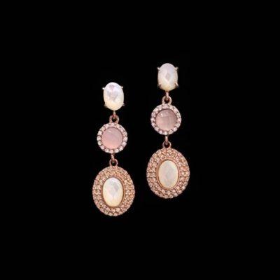 Pendientes Havana de plata rosa, nácar y cuarzo rosa