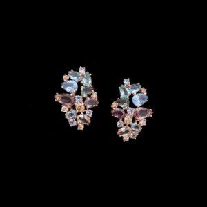 Pendientes Mosaic de plata rosa, cuarzos rosas y champagne Casale