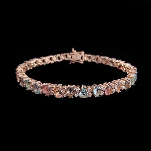 Pulsera Mosaic de plata rosa, cuarzos azules y champagne Casale