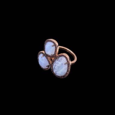 Anillo Gemstones de plata rosa y ágatas de encaje azul Trío