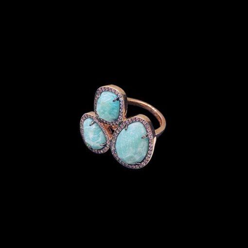 Anillo Gemstones de plata rosa y amazonitas Trío