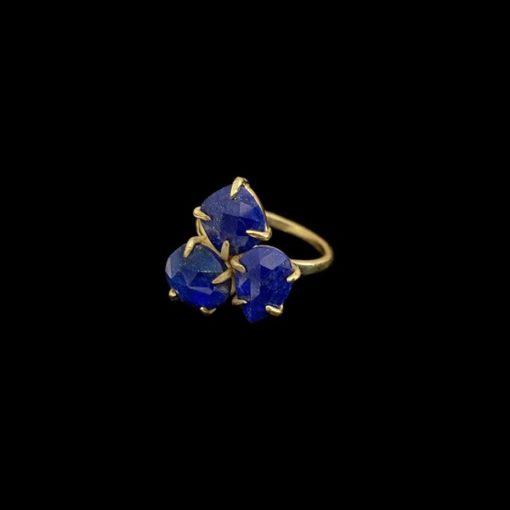 Anillo Mistura de plata dorada y lapislázulis
