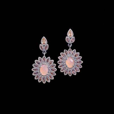Pendientes Enigma de plata y cuarzo rosa Primula