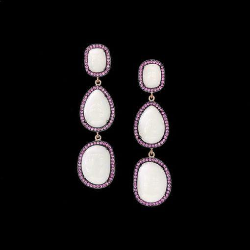 Pendientes Gemstones de plata rosa y ágatas blancas Trío