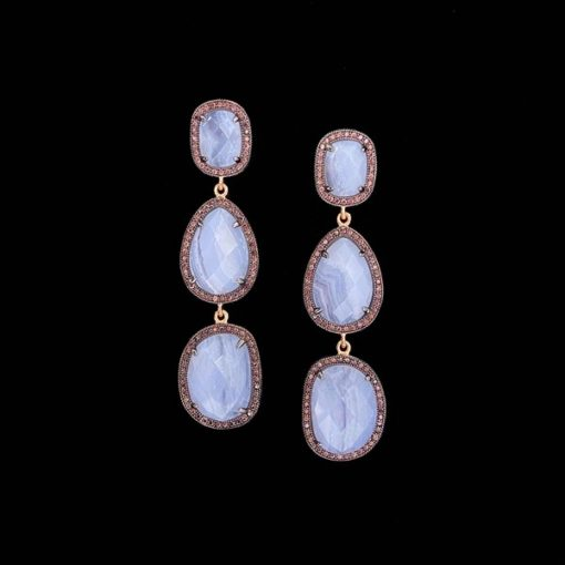 Pendientes Gemstones de plata rosa y ágatas de encaje azul Trío