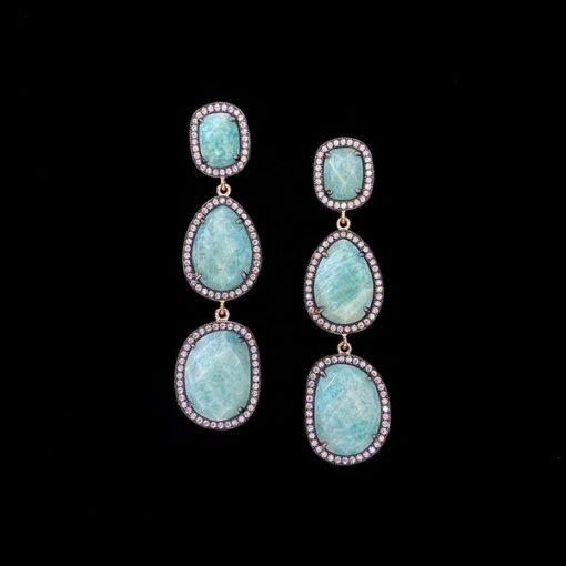 Pendientes Gemstones de plata rosa y amazonitas Trío