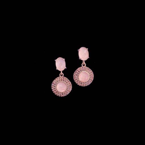 Pendientes Havana de plata rosa y cuarzo rosa Dúo