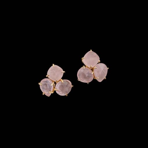 Pendientes Mistura de plata dorada y cuarzos rosas