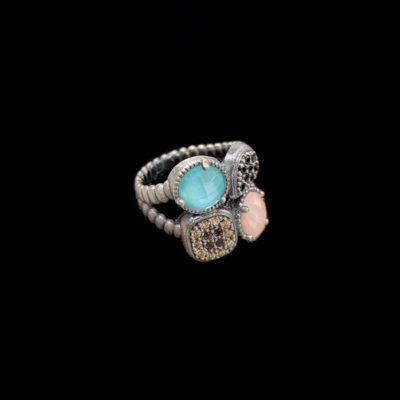 Anillo Enigma de plata y cuarzo rosa y azul Cifra