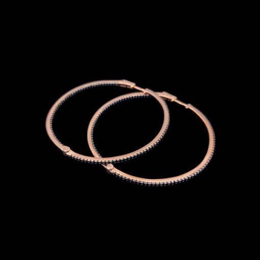 Pendientes Aventûre de plata rosa y circonitas negras Météore Midi
