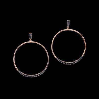 Pendientes Aventûre de plata rosa y circonitas negras Météorite