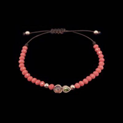 Pulsera Havana de plata rosa, turmalina y hematites coral