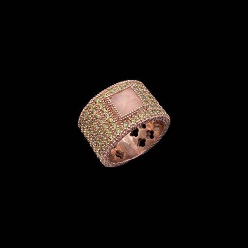 Anillo Havana de plata rosa y cuarzo rosa Orisha