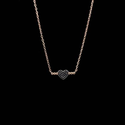 Colgante Aventûre de plata rosa y circonitas negras Amour