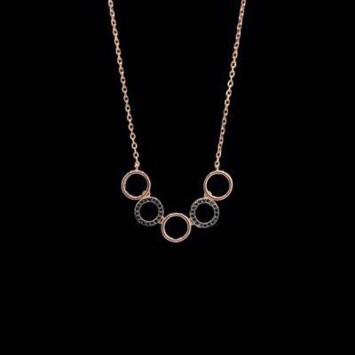 Colgante Aventûre de plata rosa y circonitas negras Midi