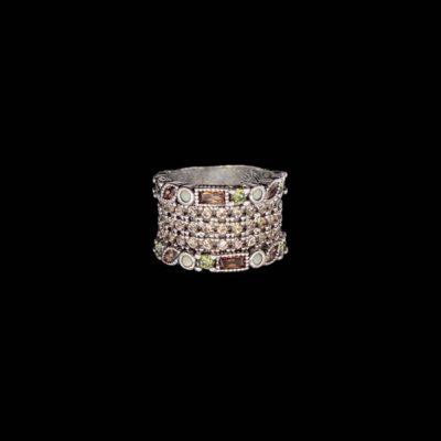 Anillo Cloris de plata, cuarzos y cuarzos champagne Iris