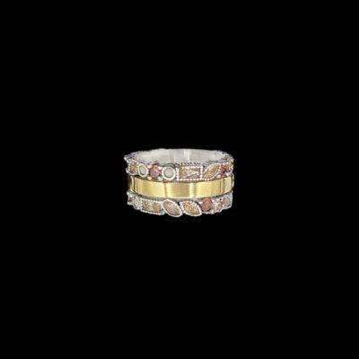 Anillo Cloris de plata, oro y cuarzos Iris