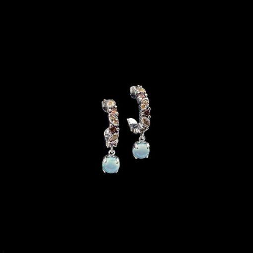 Pendientes Cloris de plata, cuarzos y calcedonia Iris