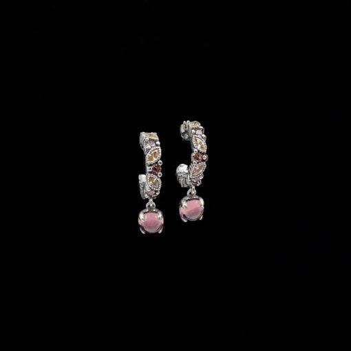 Pendientes Cloris de plata, cuarzos y rodolita Iris