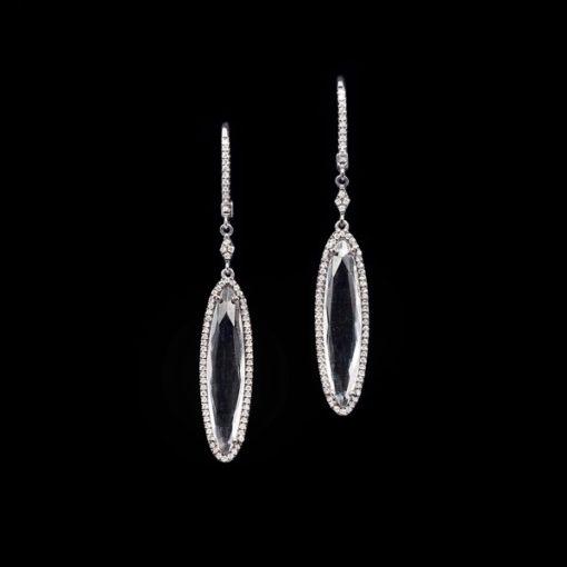Pendientes Forever Oro Negro Topacios Diamantes