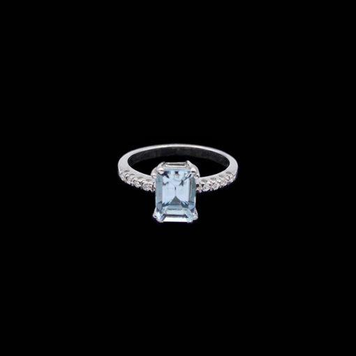 Anillo Forever de oro blanco, diamantes y aguamarina Purity