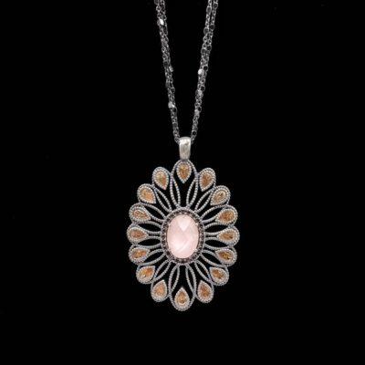Colgante Enigma de plata y cuarzo rosa Códice