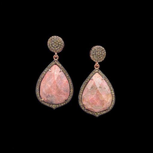 Pendientes Gemstones de plata rosa y rodonita
