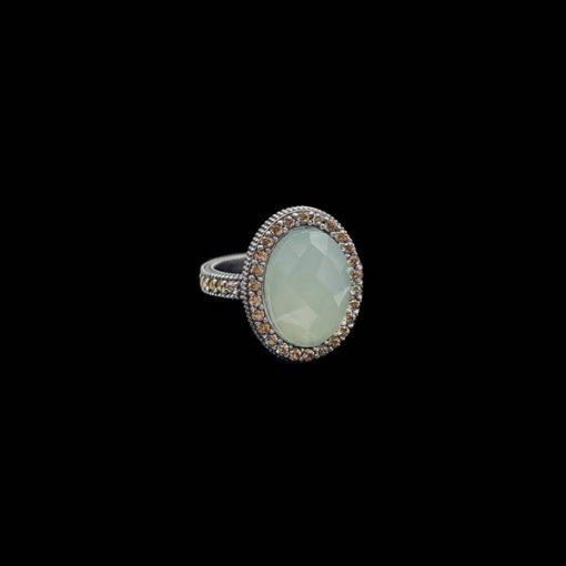 Anillo Enigma de plata y calcedonia Óvalo Midi