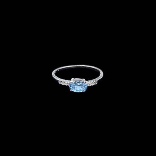Anillo Forever de oro blanco, diamantes y aguamarina Equity