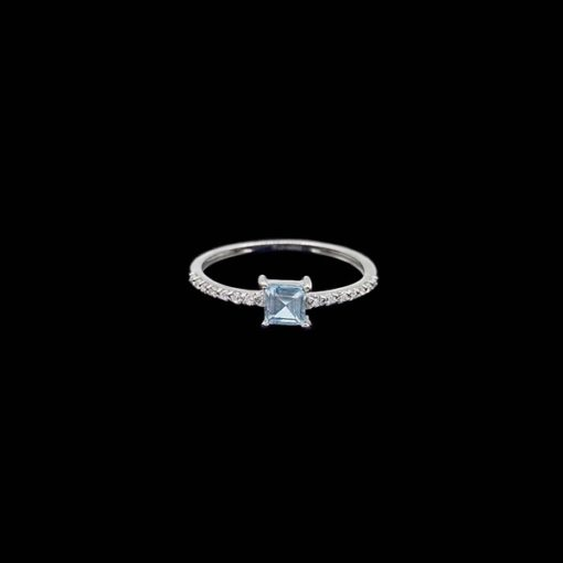 Anillo Forever de oro blanco, diamantes y topacio Simplicity