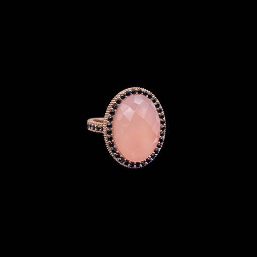 Anillo Havana de plata rosa y cuarzo rosa Óvalo