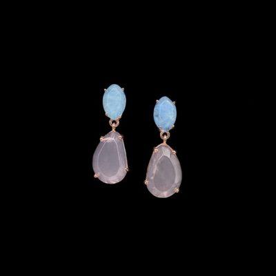 Pendientes Gemstones de plata rosa, cuarzo adamantino y rosa