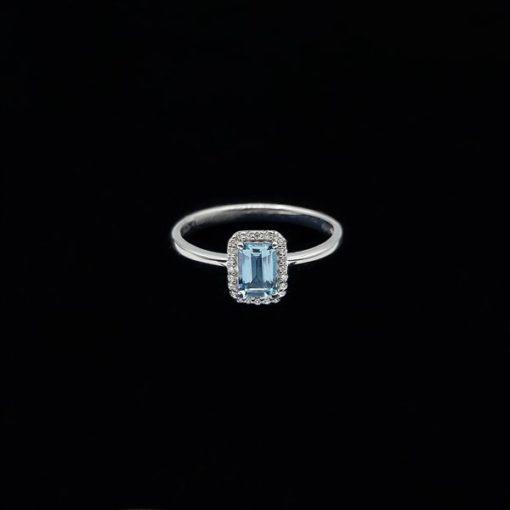 Anillo Forever de oro blanco, diamantes y aguamarina Integrity