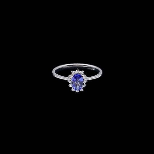Anillo Forever de oro blanco, diamantes y tanzanita Sensuality
