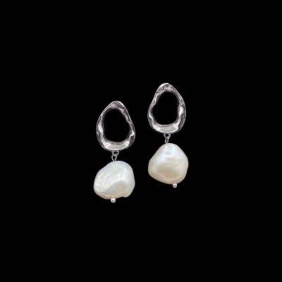Pendientes Liquid de plata y perla Ura