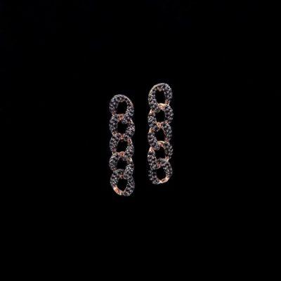 Pendientes Aventûre de plata rosa y circonitas negras Lien