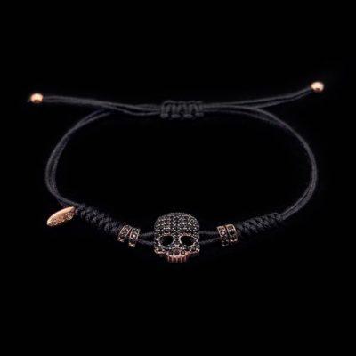 Pulsera Aventûre de plata rosa y circonitas negras Crâne