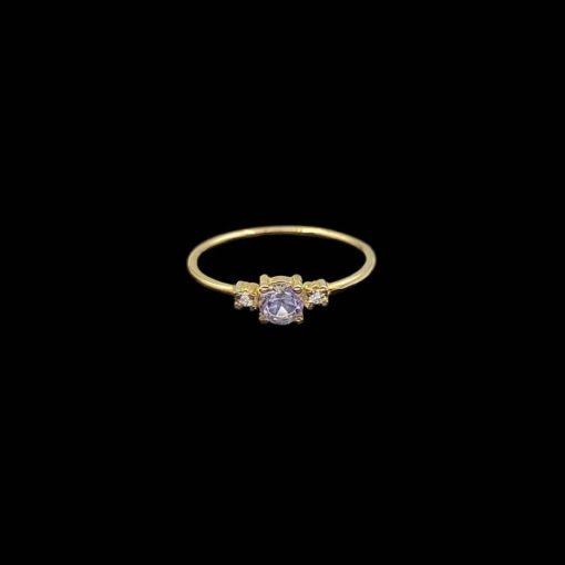 Anillo Eggo de oro, diamantes y amatista rosa Tress