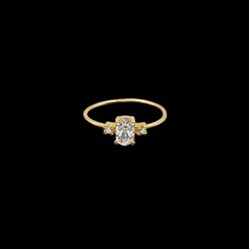 Anillo Eggo de oro, topacio y diamantes Tress